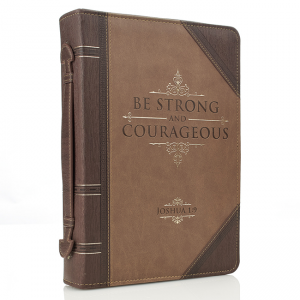 Faux Leather Classic Bible Cover-Be Strong and Courageous  Joshua 1:9