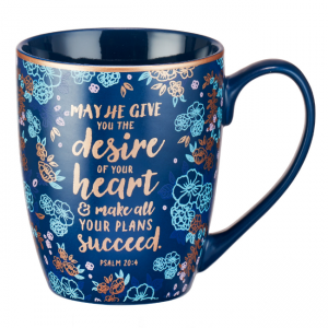 Mug- Foiled Stoneware May He Give You the desires of your heart