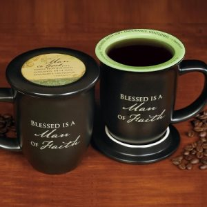 Mug With Coaster-Blessed Is a Man Of Faith