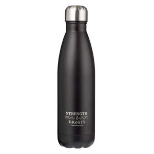 Stainless Steel Water Bottle-Strength & Dignity Black